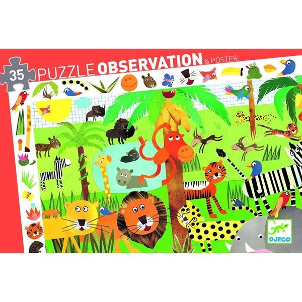 Casse-tête 35 morceaux Observation La jungle