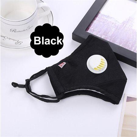 Masque en coton avec valve respiratoire, Noir