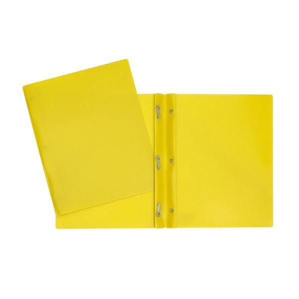 Couverture de présentation poly avec attaches jaune
