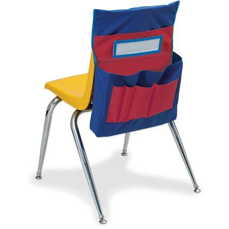 Pochette de rangement pour dossier de chaise Bleu/Rouge