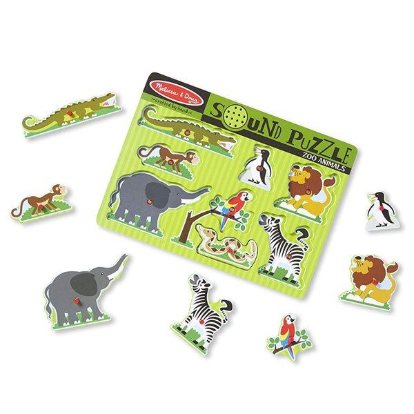 Casse-tête sonore en bois 8 morceaux Zoo