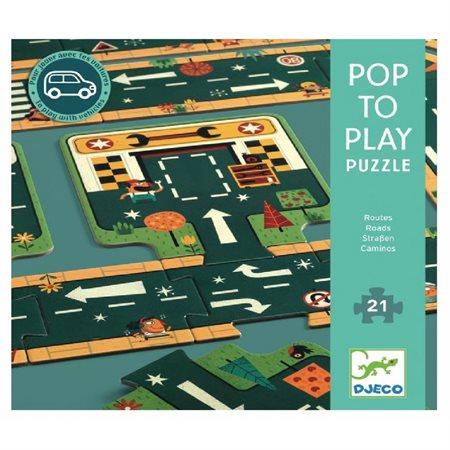 Casse-tête en bois 21 morceaux Pop to Play routes
