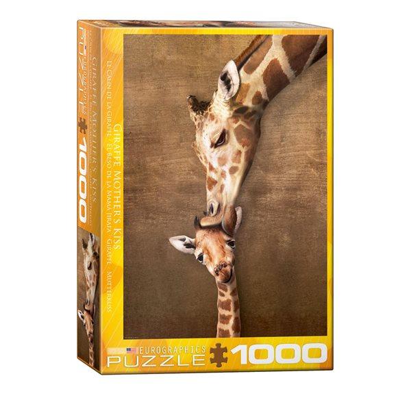 asse-tête 1000 morceaux Le câlin de la girafe