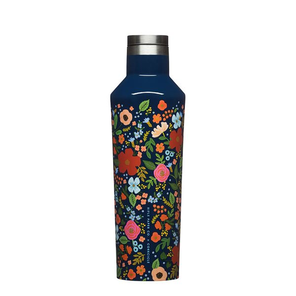 Bouteille Rifle Paper co. Canteen 16 oz - Rose sauvage / Marine