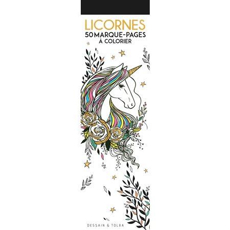 Licornes : 50 marque-pages à colorier